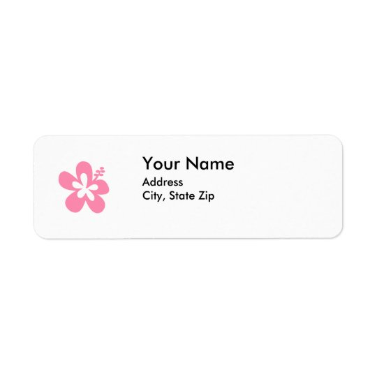 pink hibiscus flower address label
