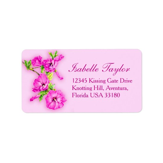 Pink hibiscus flower art wedding reply label