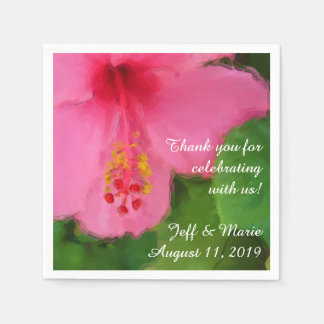 Pink Hibiscus Flower Beach Wedding Disposable Serviette