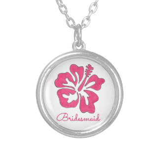 Pink Hibiscus Flower Bridesmaid Gift Necklace