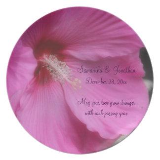 Pink Hibiscus Flower Love Wedding Plate