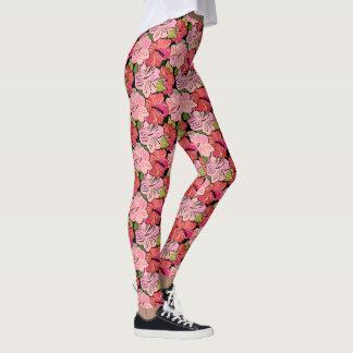 Pink Hibiscus Flower Pattern Leggings