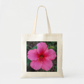 Pink Hibiscus Flower Reusable Tote Budget Tote Bag