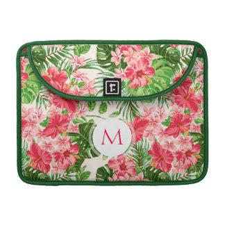 Pink Hibiscus Flower Tropical Palm Monogram Mac S Sleeve For MacBook Pro