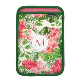 Pink Hibiscus Flower Tropical Palm Monogram Sleeve