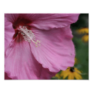 Pink Hibiscus Flower Watercolor Photo Painting Print