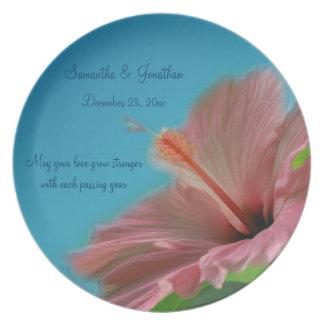 Pink Hibiscus Flower Wedding Keepsake Plate