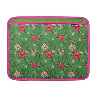 Pink Hibiscus Flowers and Leaves Sleeve For MacBook Air