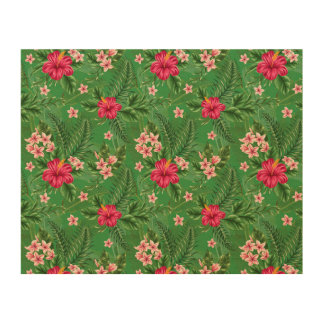 Pink Hibiscus Flowers and Leaves Wood Prints