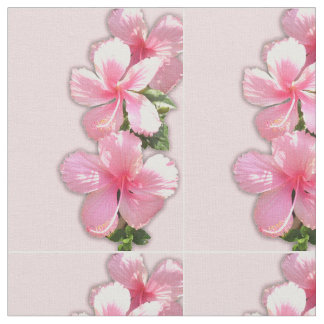 Pink Hibiscus Flowers Fabric