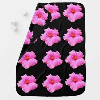 Pink Hibiscus Flowers On Black, Baby Blanket