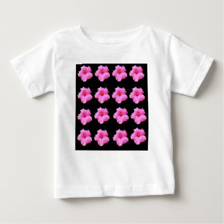 Pink Hibiscus Flowers On Black,_ Baby T-Shirt