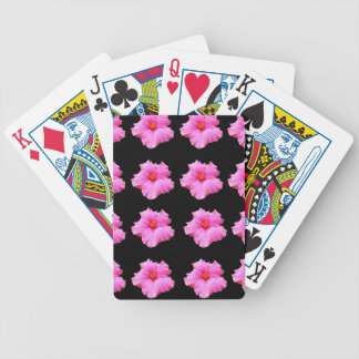 Pink Hibiscus Flowers On Black,_ Bicycle Playing Cards