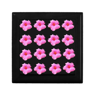 Pink Hibiscus Flowers On Black,_ Gift Box