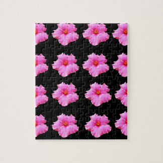 Pink Hibiscus Flowers On Black,_ Jigsaw Puzzle