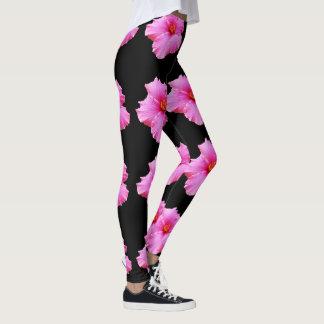Pink Hibiscus Flowers On Black , Ladies Leggings