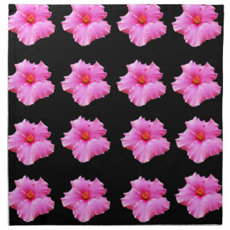 Pink Hibiscus Flowers On Black,_ Napkin
