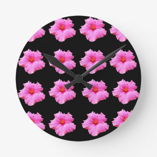 Pink Hibiscus Flowers On Black,_ Round Clock