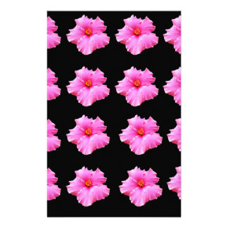 Pink Hibiscus Flowers On Black,_ Stationery