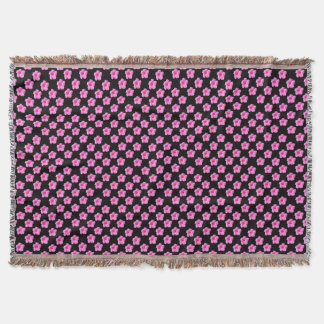 Pink Hibiscus Flowers On Black,_ Throw Blanket