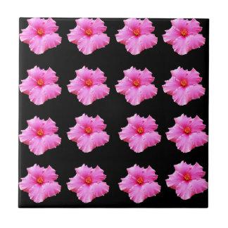 Pink Hibiscus Flowers On Black,_ Tile