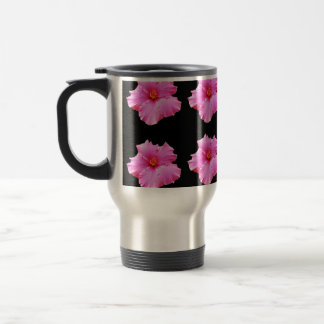 Pink Hibiscus Flowers On Black,_ Travel Mug