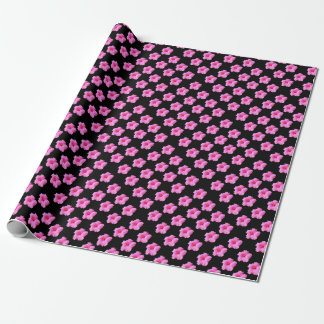 Pink Hibiscus Flowers On Black,_ Wrapping Paper