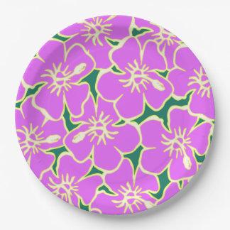 Pink Hibiscus Flowers Tropical Hawaiian Luau 9 Inch Paper Plate