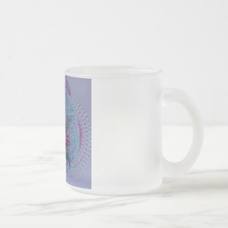 Pink hibiscus frosted glass coffee mug