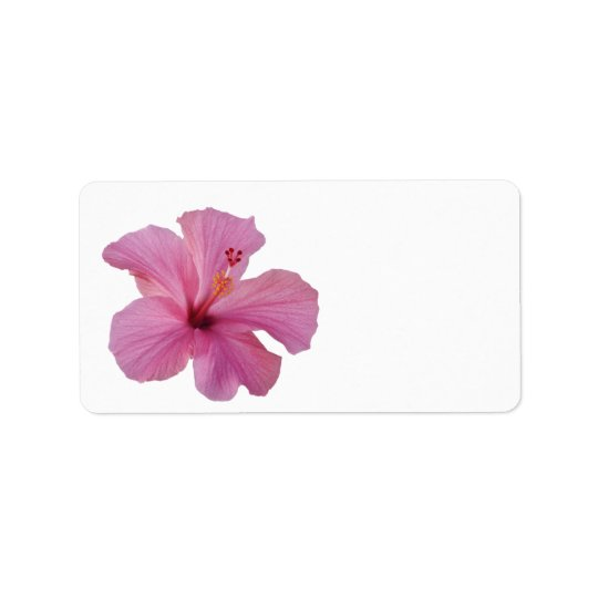 Pink Hibiscus Hawaiian Flower Customised Template Address Label