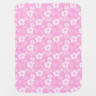 Pink Hibiscus Honu Hawaiian Pattern Baby Blanket