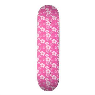 Pink Hibiscus Honu Hawaiian Pattern Skate Deck