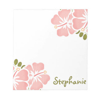 Pink Hibiscus Notepad Personalized