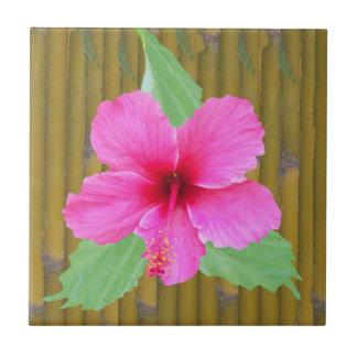 Pink Hibiscus on Bamboo Ceramic Tile