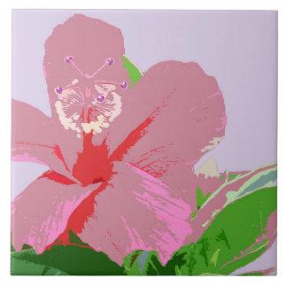 Pink Hibiscus on Purple Ceramic Tile