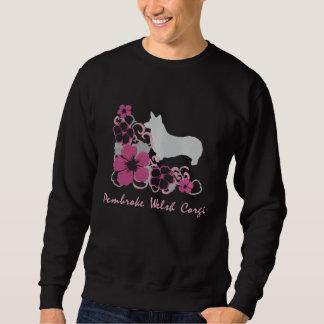 Pink Hibiscus Pembroke Welsh Corgi Embroidered Sweatshirt