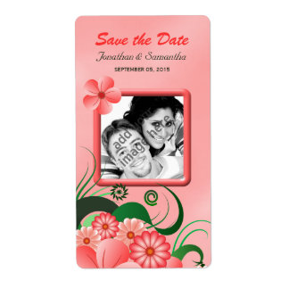 Pink Hibiscus Save The Date Wine Labels Large