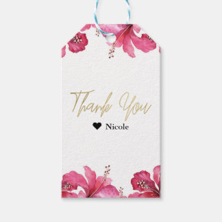 Pink Hibiscus Tropical Flowers White Party Favor