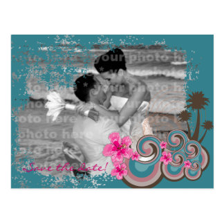 Pink Hibiscus Tropical Waves Beach Save The Date Postcard