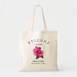 Pink Hibiscus Tropical Wedding Welcome Tote