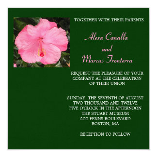 Pink Hibiscus Wedding Invitation