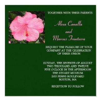 Pink Hibiscus Wedding Invitation
