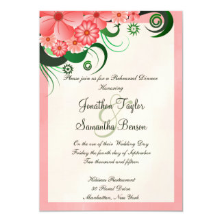 Pink Hibiscus Wedding Rehearsal Dinner Invitations