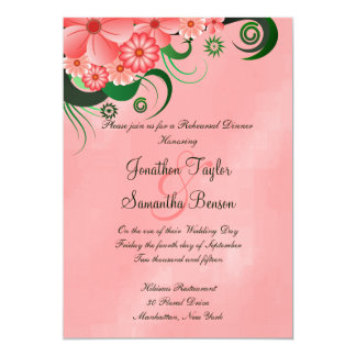 Pink Hibiscus Wedding Rehearsal Dinner Invitations