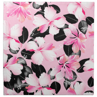 Pink hibiscus with black leaves napkin