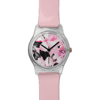Pink hibiscus with black leaves watch