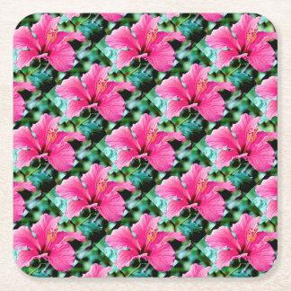 Pink Hibiskus Square Paper Coaster