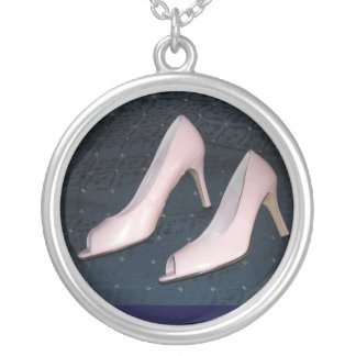 Pink High Heel Pumps Silver Plated Necklace