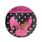 Pink High Heels Black White Polka Dots Plate