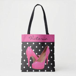 Pink High Heels Black White Polka Dots Tote Bag